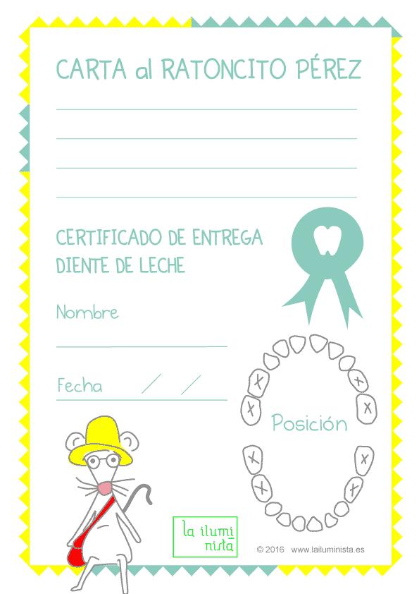 Certificados y cartas del Ratoncito Pérez para imprimir