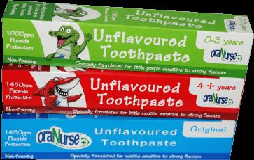 pasta de dientes sin sabor y con flúor