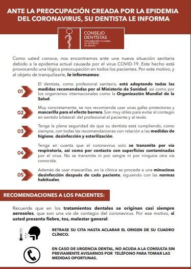 cartel consejo de dentistas conoravirus